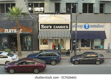 EMERYVILLE, CALIFORNIA - NOVEMBER 13, 2016: See's Candies at the Bay Street Shopping Center is owned by Warren Buffett.