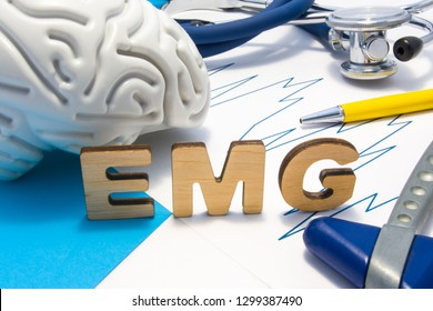 EMG medical abbreviation of electromyography concept, medical diagnostic research, which measures electrical impulses of muscles. Diagnosis nerve diseases associated with poor transmission of nerve