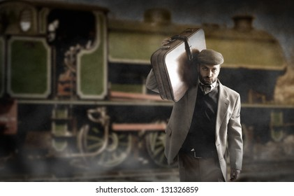 Emigrant man with the suitcases