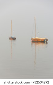 Emigration boat in a special light mood with fog on Lake Steinhude