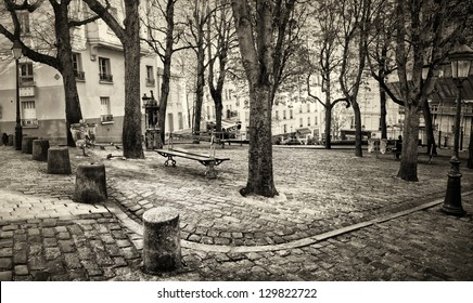 Emile Goudeau Square on Montmartre Hill in Paris. Famous painters like Picasso or Modigliani used to live there at the beginning of 20th century.