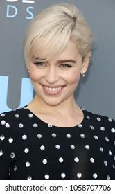 Emilia Clarke at the 23rd Annual Critics' Choice Awards held at the Barker Hangar in Santa Monica, USA on January 11, 2018.