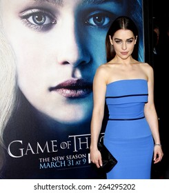 """Emilia Clarke at the HBO's third season premiere of """"Game of Thrones"""" held at the TCL Chinese Theater in in Los Angeles, United States, March 18, 2013."""