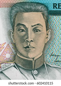 Emilio Aguinaldo portrait on Philippine five peso (1985) banknote closeup, First President of the Philippines.