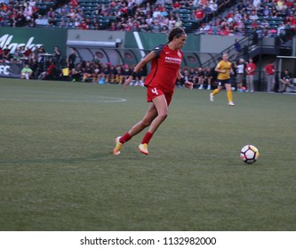 Emily Menges defender for the Portland Thorns FC at Providence Park  in Portland,OR USA July 6,2018.