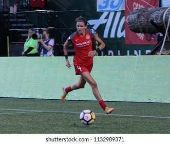Emily Menges defender for the Portland Thorns at Providence Park in Portland Oregon USA July 6,2018.