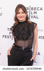 Emily Mortimer wearing dress by J Mendel attends premiere of To Dust during Tribeca Film Festival at SVA Theater