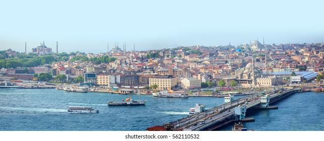 Eminonu harbor with berthed passenger ships, istanbul Turkey