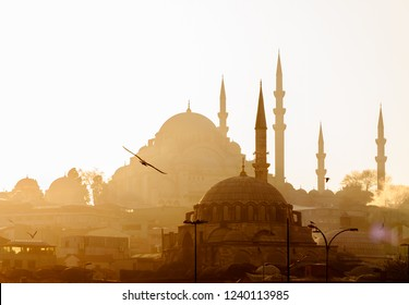 Eminonu,  Istanbul/ Turkey - 02 07 2014: Scenic view of Blue Mosque(Sultanahmet Cami) with behind the New Mosque(Yeni Cami) at sunset.