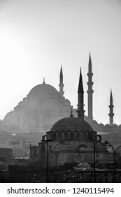 Eminonu,  Istanbul/ Turkey - 02 07 2014: Scenic view of Blue Mosque(Sultanahmet Cami) with behind the New Mosque(Yeni Cami). Black and white colors.