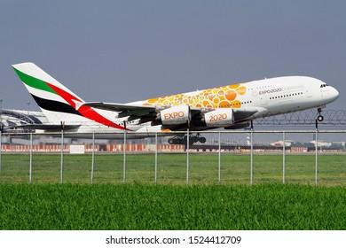 Emirates Airbus A380-800 Reg.A6-EOV EXPO 2020 livery at Bangkok Suvarnabhumi Airport, Thailand on 29 September 2019