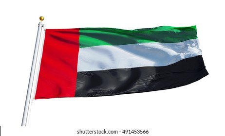 Emirates flag waving on white background, close up, isolated with clipping path mask alpha channel transparency