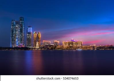 Emirates Palace & Etihad Towers, Abu Dhabi - UAE November 2016.