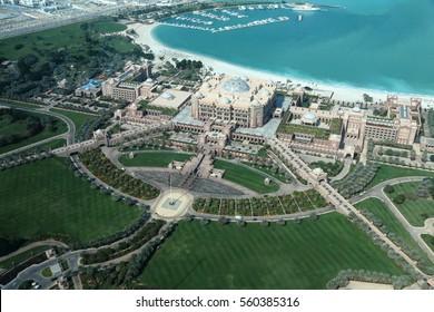 Emirates palace hotel Abu Dhabi. Aerial view. United Arab Emirates.