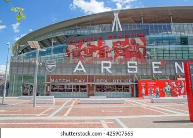 The Emirates Stadium exterior, London. June 2014. Home of Arsenal Football Club.