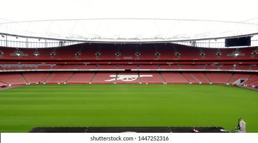 Emirates Stadium, Holloway, North London, England, UK - July 2013. An empty Emirates Stadium, home of Arsenal Football Club since 2006.