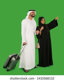 Emirati couple travelling with bag