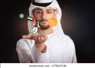 Emirati young man holding an astronaut in the space with UAE flag floating with Mars, United Arab of Emirates to the space.