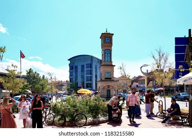 Emirdag, Afyonkarahisar / Turkey - August 07 2018: City center with clock tower