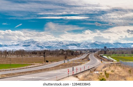 Emirdag City Landscape view in a winter day and mountain range in background, Afyonkarahisar, Turkey
