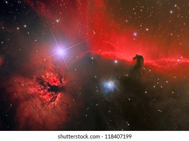 emission nebula and dark nebula in the constellation Orion