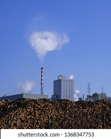 Emissions, chimneys with toxic emissions, Hernani, Basque Country