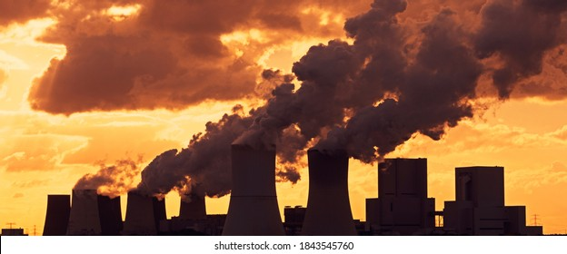 Emissions and Global Warming - A panoramic image of a coal-fired power plant