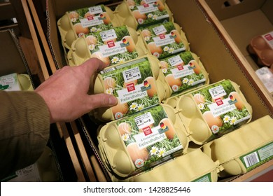 EMLICHHEIM, GERMANY - APRIL 26,  2018: Private label Eggs cartons in a REWE supermarket. Free-range eggs are eggs produced from hens that may be permitted outdoors.