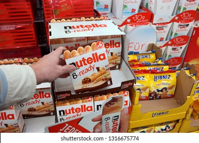 EMLICHHEIM, GERMANY - JANUARY 25, 2018: Nutella B-ready biscuit candybar in a store. Nutella a brand name of Italian sweetened hazelnut chocolate products, manufactured by the Italian company Ferrero.