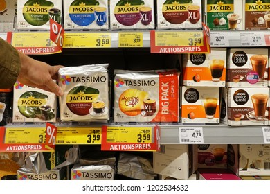 EMLICHHEIM, GERMANY - OCTOBER 5, 2018: Assortment of single-serve coffee containers in a store. Tassimo Hot Beverage System is a consumer single-serve coffee system brand owned by Jacobs Douwe Egberts