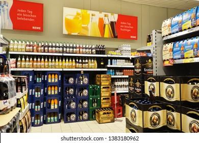 EMLICHHEIM, GERMANY - OCTOBER 5, 2018: Beverages department of a German REWE supermarket.