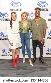 "Emma Lahana, Olivia Holt, Aubrey Joseph attend 2019 WonderCon - Marvel's ""Cloak and Dagger"" Press Room, Anaheim, CA on March 29th, 2019"