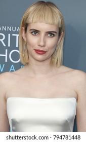 Emma Roberts at the 23rd Annual Critics' Choice Awards held at the Barker Hangar in Santa Monica, USA on January 11, 2018.