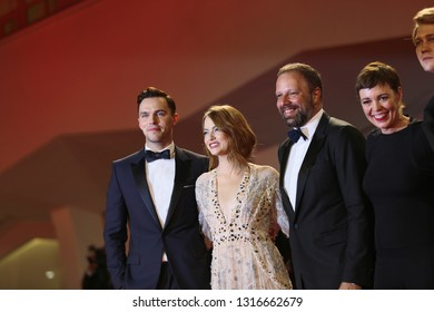 Emma Stone, Yorgos Lanthimos, Olivia Colman walks the red carpet of the movie 'The Favourite' during the 75th Venice Film Festival on August 30, 2018 in Venice, Italy.