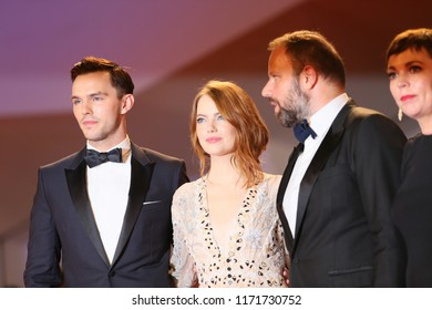 Emma Stone,Yorgos Lanthimos, Olivia Colman, Nicholas Hoult walks the red carpet ahead of the 'The Favourite' screening during the 75 Venice Festival at Sala Grande on August 30, 2018 in Venice, Italy.