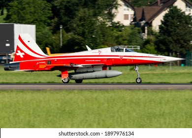 Emmen Air Force Base, Lucerne Switzerland - 07 13 2020 : A Swiss Air Force Northrop F-5 Tiger in the Patrouille Suisse livery