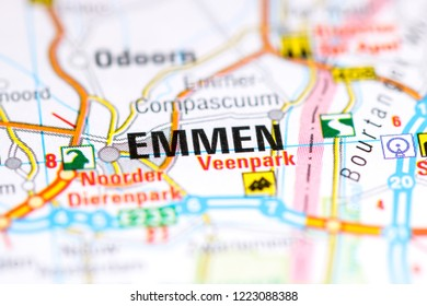 Emmen. Netherlands on a map