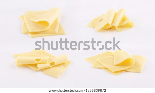 emmental, cheddar, gouda cheese slices on white background