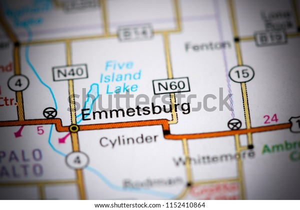 Emmetsburg. Iowa. USA on a map