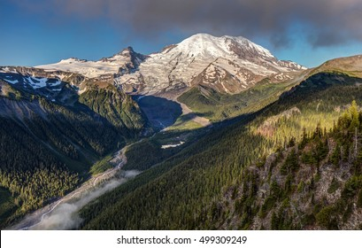 Emmons Vista of Mount Rainier. the magnificent peak of Mount Rainier with its many glaciers in summer from Emmons vista overlook.