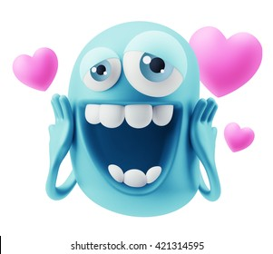 Emoji in love with hearts shapes. 3d Rendering.