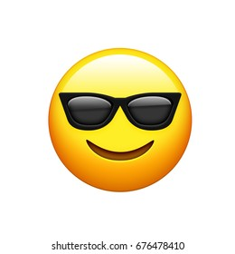 The emoji yellow face with black sunglass and smile icon