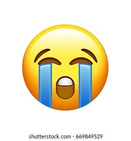 The emoji yellow unhappy face with crying tear icon