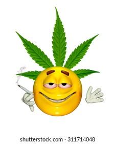 An emoticon enjoys smoking cannabis - 3d render with digital painting.