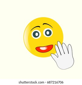 Emoticon face and hand isolated on white background. Simple illustration.