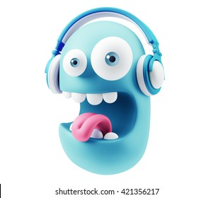 Emoticon Face Listening Music with Headphones. 3d Rendering.
