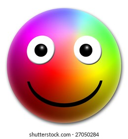emoticon, multicolored ball with shade and a white background G