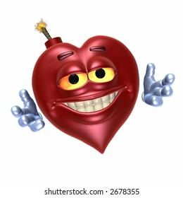 Emoticon smiley bomb shaped like a heart with a big smile and hands wide for a hug.  Has a red satin texture and sheen. Isolated on a white background.