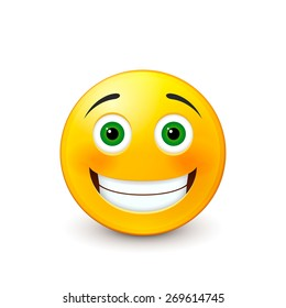 Emoticon smiling. Isolated on a white background. Raster copy.
