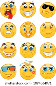 Emoticon style smile face icons